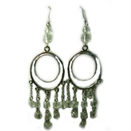 Sheer Indulgence, Rhodium Plated Hook Earrings